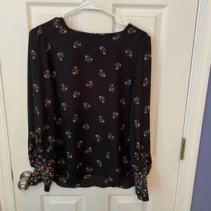 Black Loft blouse with floral details